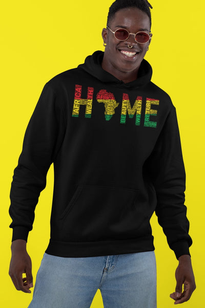 HOME Africa Silhouette Word Cluster Unisex Hoodie