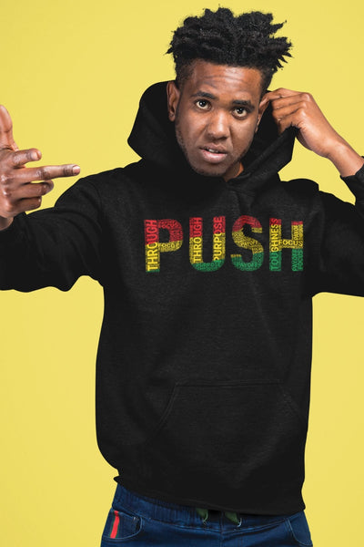 PUSH  Pan-African Colored Word Cluster Unisex Hoodie