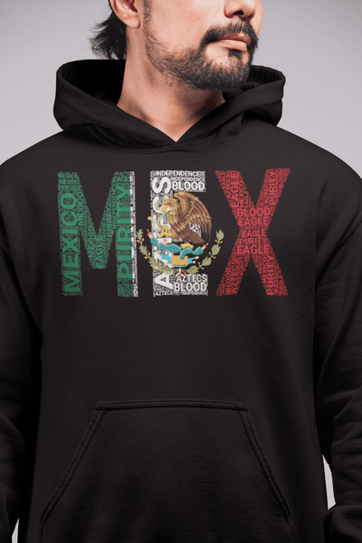 Mexico National Flag Inspired Word Cluster Unisex Hoodie