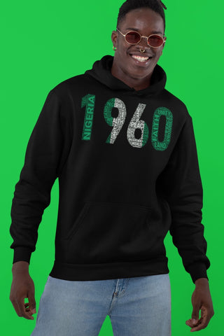 NIGERIA INDEPENDENCE 1960 NATIONAL FLAG INSPIRED Word Cluster Unisex Hoodie