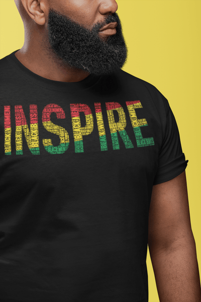 """INSPIRE"" Black Men, Women, Boys, & Girls Pan-African Color Word Cluster Short-Sleeve Unisex T-Shirt"