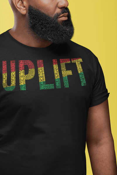 """UPLIFT"" Black Men, Women, Boys, & Girls  Pan-African Colored Word Cluster Short-Sleeve Unisex T-Shirt"