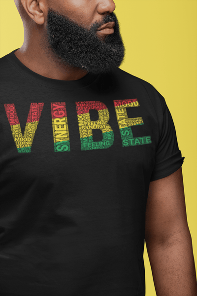 """VIBE""  Pan-African Colored Word Cluster Short-Sleeve Unisex T-Shirt"