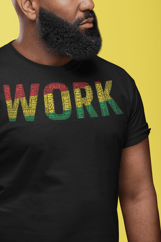 "MISSPELLED""WORK""  Pan-African Colored Word Cluster Short-Sleeve Unisex T-Shirt"