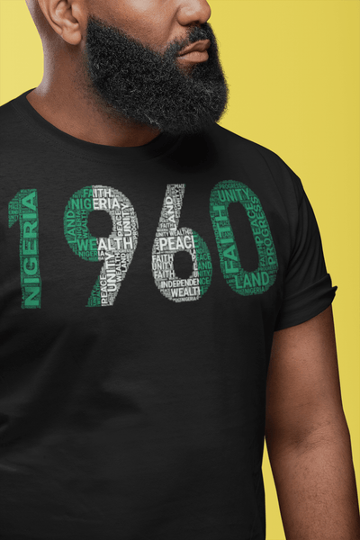 1960 Nigeria Independence Year Word Cluster Tee Short-Sleeve Unisex T-Shirt