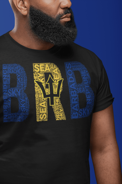BARBADOS National Flag Inspired Word Cluster Short-Sleeve Unisex T-Shirt