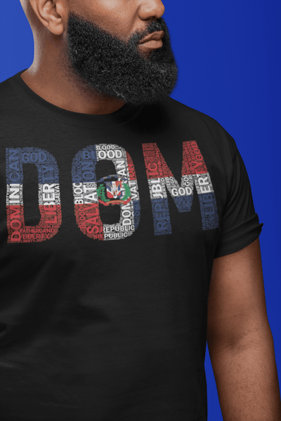 DOMINICAN REPUBLIC National Flag Inspired Word Cluster Short-Sleeve Unisex T-Shirt