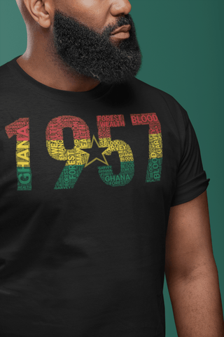 Ghana 1957 Independence National Flag Inspired Word Cluster Short-Sleeve Unisex T-Shirt