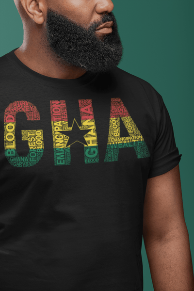 GHANA Abbreviated National Flag Inspired Word Cluster Short-Sleeve Unisex T-Shirt