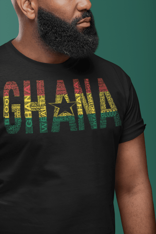 GHANA National Flag Inspired Word Cluster Short-Sleeve Unisex T-Shirt