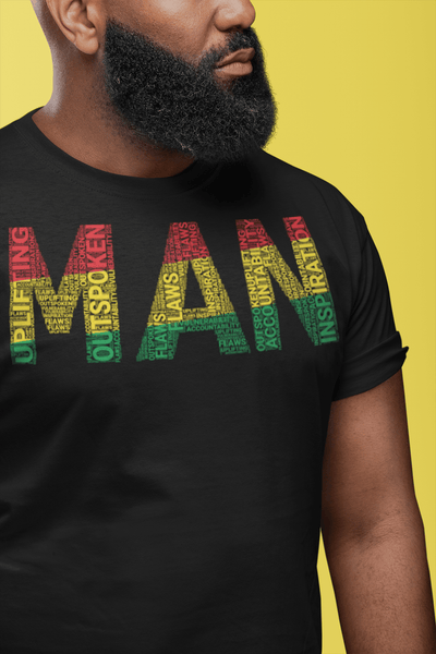 """MAN"" Pan-African Colored Word Cluster Short-Sleeve Unisex T-Shirt"