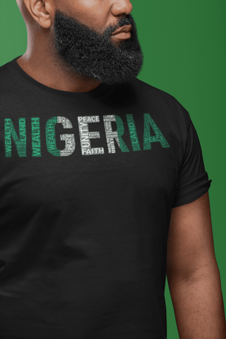 NIGERIA National Flag Inspired Word Cluster Short-Sleeve Unisex T-Shirt