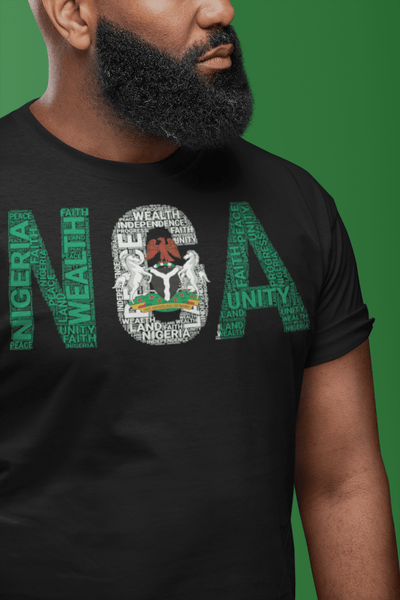 NIGERIA State Flag Inspired Word Cluster Short-Sleeve Unisex T-Shirt
