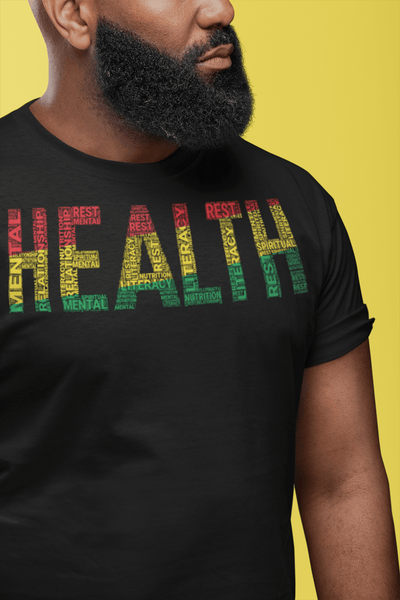 """HEALTH""  Pan-African Colored Word Cluster Short-Sleeve Unisex T-Shirt"