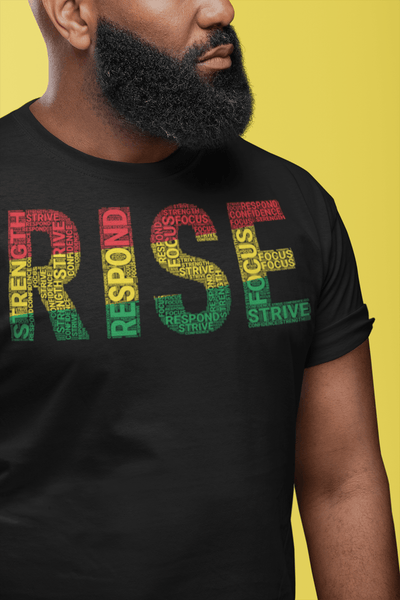 RISE Pan-African Colored Word Cluster Short-Sleeve Unisex T-Shirt