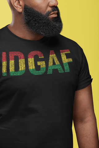 """IDGAF"" Pan-African Colored Short-Sleeve Unisex T-Shirt"