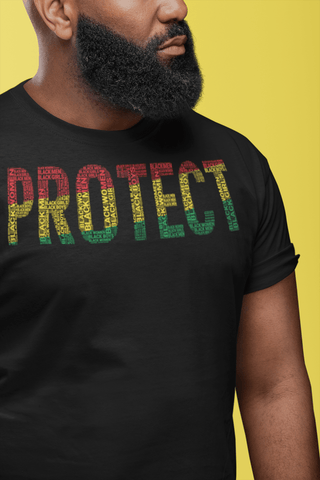 """PROTECT"" Black Men, Black Women, Black Girls, and Black Boys  Pan-African Colored Word Cluster Short-Sleeve Unisex T-Shirt"