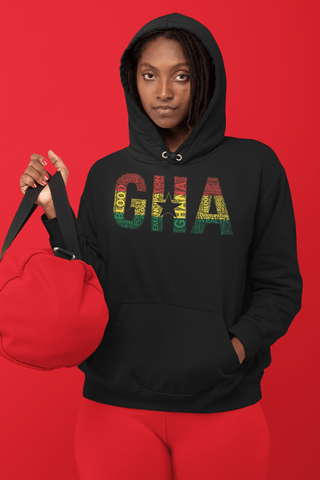 GHANA Abbreviated National Flag Inspired Word Cluster Unisex Hoodie