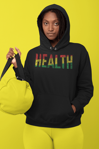 """HEALTH""  Pan-African Colored Word Cluster Unisex Hoodie"