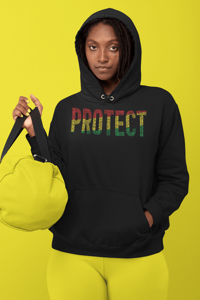 """PROTECT"" Black Men, Black Women, Black Girls, Black Boys  Pan-African Colored Word Cluster Unisex Hoodie"