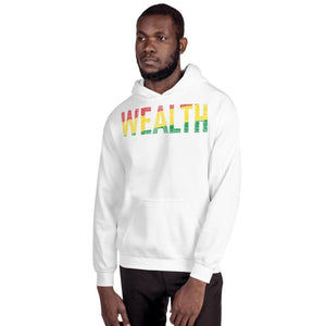 """WEALTH""  Pan-African Colored Word Cluster Unisex Hoodie"