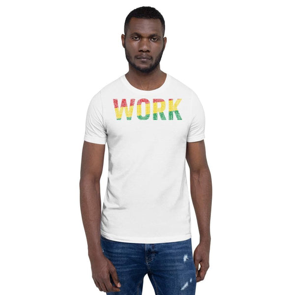 """WORK""  Pan-African Colored Word Cluster Short-Sleeve Unisex T-Shirt"