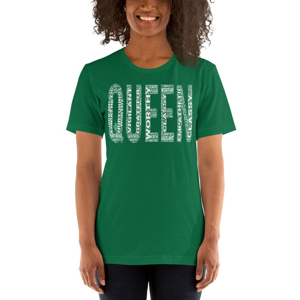 QUEEN (White) Short-Sleeve Unisex T-Shirt | Worthy, Grateful, Classy, Nurturing, Vigilant, Empathetic