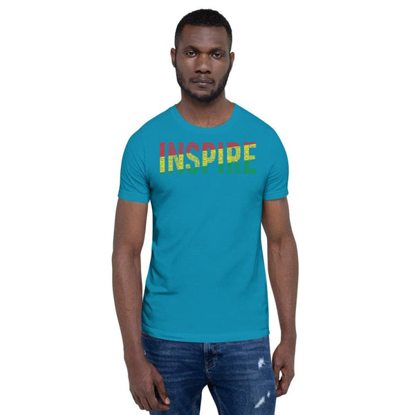 """INSPIRE"" Black Men, Women, Boys, & Girls Pan-African Color Short-Sleeve Unisex T-Shirt - pyerses-bookstore-and-clothing.myshopify.com"