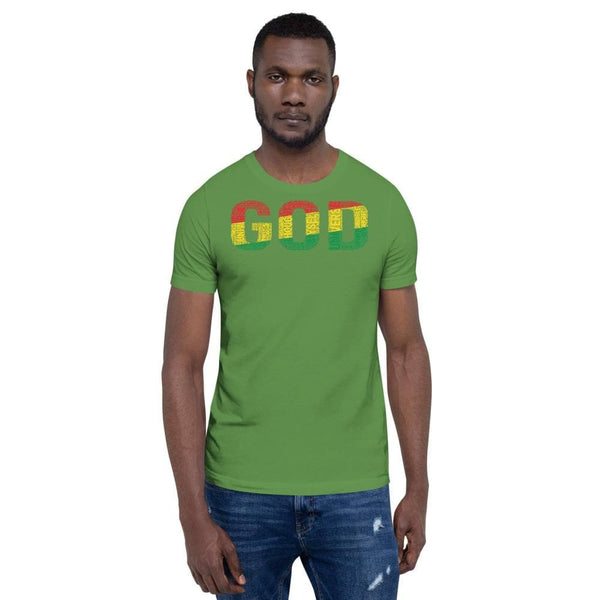 """GOD""  Pan-African Colored Word Cluster Short-Sleeve Unisex T-Shirt"