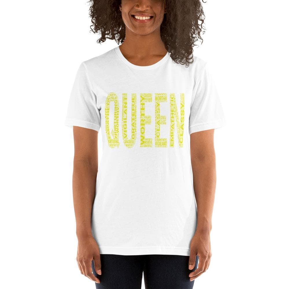 QUEEN (Yellow) Short-Sleeve Unisex T-Shirt | Worthy, Grateful, Classy, Nurturing, Vigilant, Empathetic