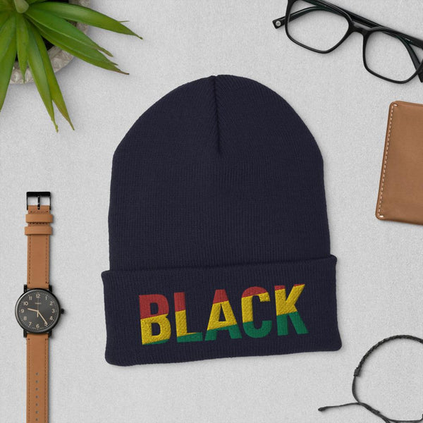 BLACK Pan African Colored Cuffed Beanie - pyerses-bookstore-and-clothing.myshopify.com