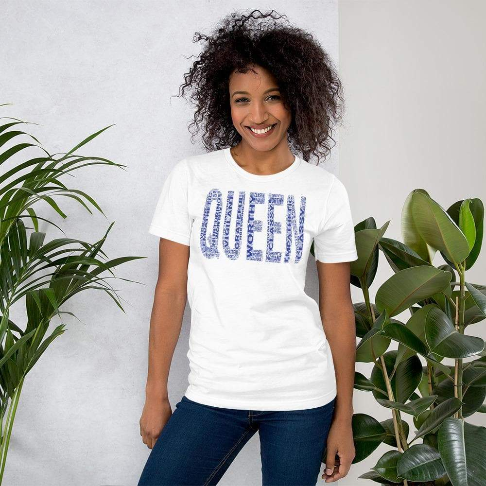 QUEEN (Blue) Short-Sleeve Unisex T-Shirt | Worthy, Grateful, Classy, Nurturing, Vigilant, Empathetic