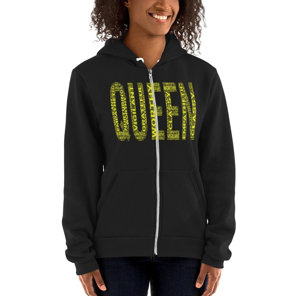 QUEEN (Yellow) Unisex Hoodie | Worthy, Grateful, Classy, Nurturing, Vigilant, Empathetic
