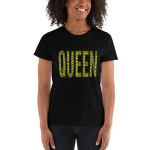 Women's QUEEN Cluster Shirt- Yellow | Classy, Empathic, Vigilant, Worthy, Nurturing, Grateful