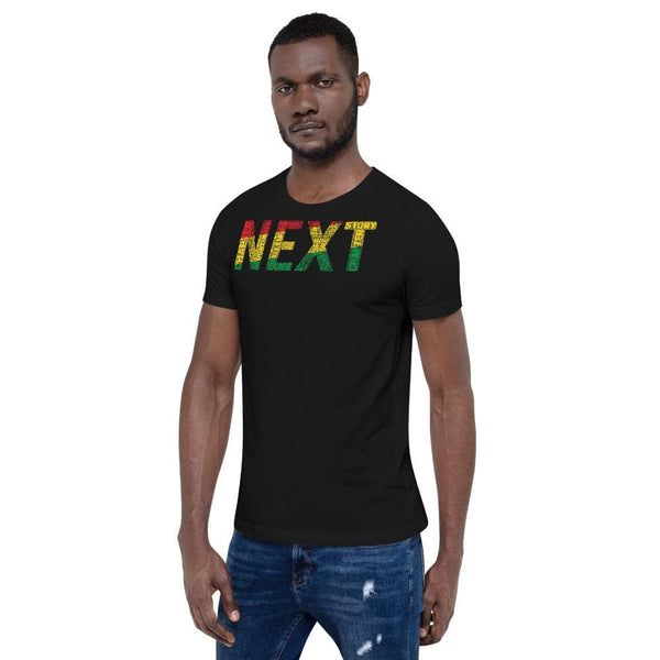 """NEXT""  Pan-African Colored Word Cluster Short-Sleeve Unisex T-Shirt"