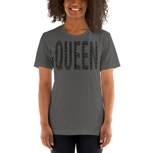 QUEEN (Black) Short-Sleeve Unisex T-Shirt | Worthy, Grateful, Classy, Nurturing, Vigilant, Empathetic