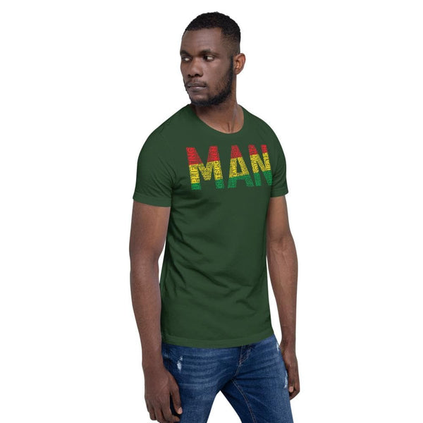 MAN Pan-African Colored Word Cluster Short-Sleeve Unisex T-Shirt - pyerses-bookstore-and-clothing.myshopify.com