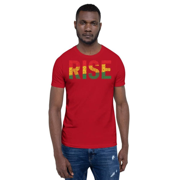 RISE Pan-African Colored Word Cluster Short-Sleeve Unisex T-Shirt - pyerses-bookstore-and-clothing.myshopify.com