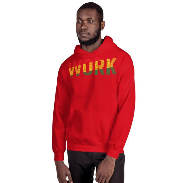 """WORK""  Pan-African Colored Word Cluster Unisex Hoodie"