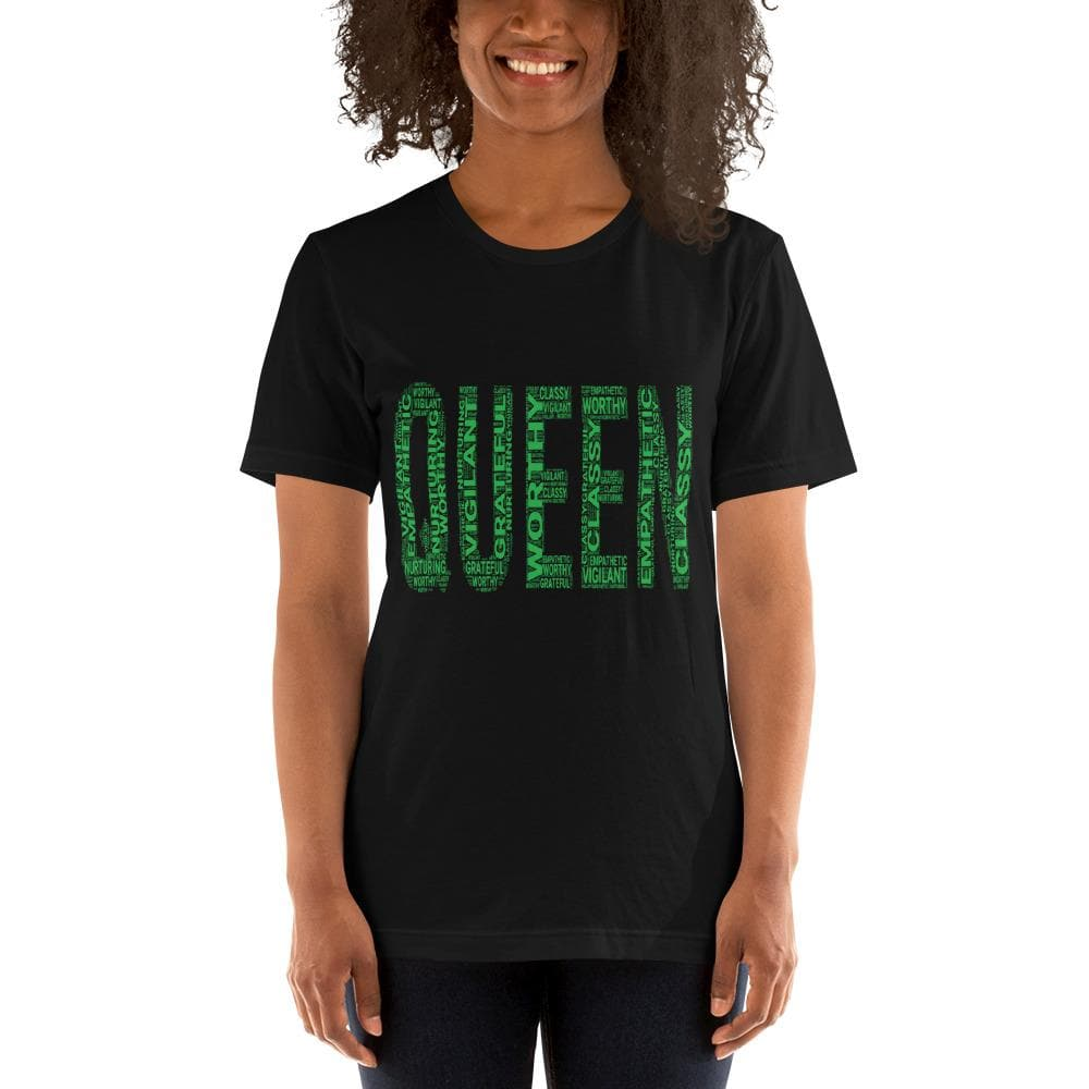 QUEEN (Green) Short-Sleeve Unisex T-Shirt | Worthy, Grateful, Classy, Nurturing, Vigilant, Empathetic