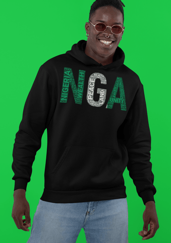 NIGERIA NGA National Flag Inspired Word Cluster Unisex Hoodie