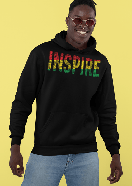 """INSPIRE"" Black Men, Women, Boys, & Girls Pan-African Color Word Cluster Unisex Hoodie"