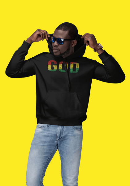 """GOD""  Pan-African Colored Word Cluster Unisex Hoodie"