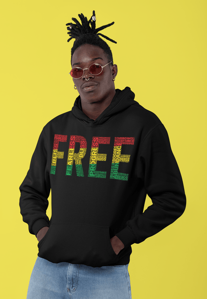 """FREE""  Pan-African Colored Word Cluster Unisex Hoodie"