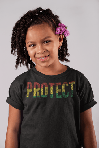 """PROTECT"" BLACK MAN, BLACK WOMAN, BLACK GIRL, BLACK BOY Pan-African Word Cluster Youth Short Sleeve T-Shirt"