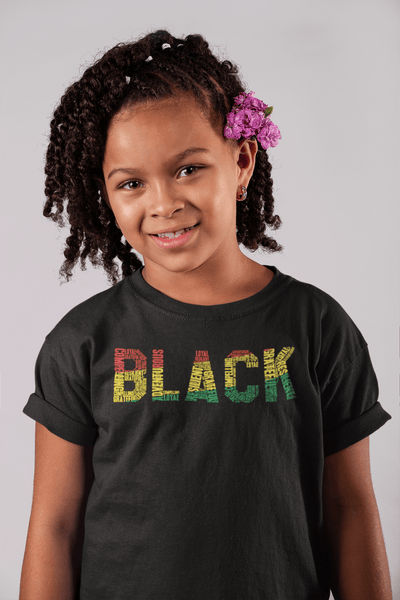 """BLACK"" Word Cluster Youth Short Sleeve T-Shirt"