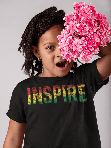 """INSPIRE"" Black Men, Women, Boys, & Girls Pan-African Color Word Cluster Youth Short Sleeve T-Shirt"