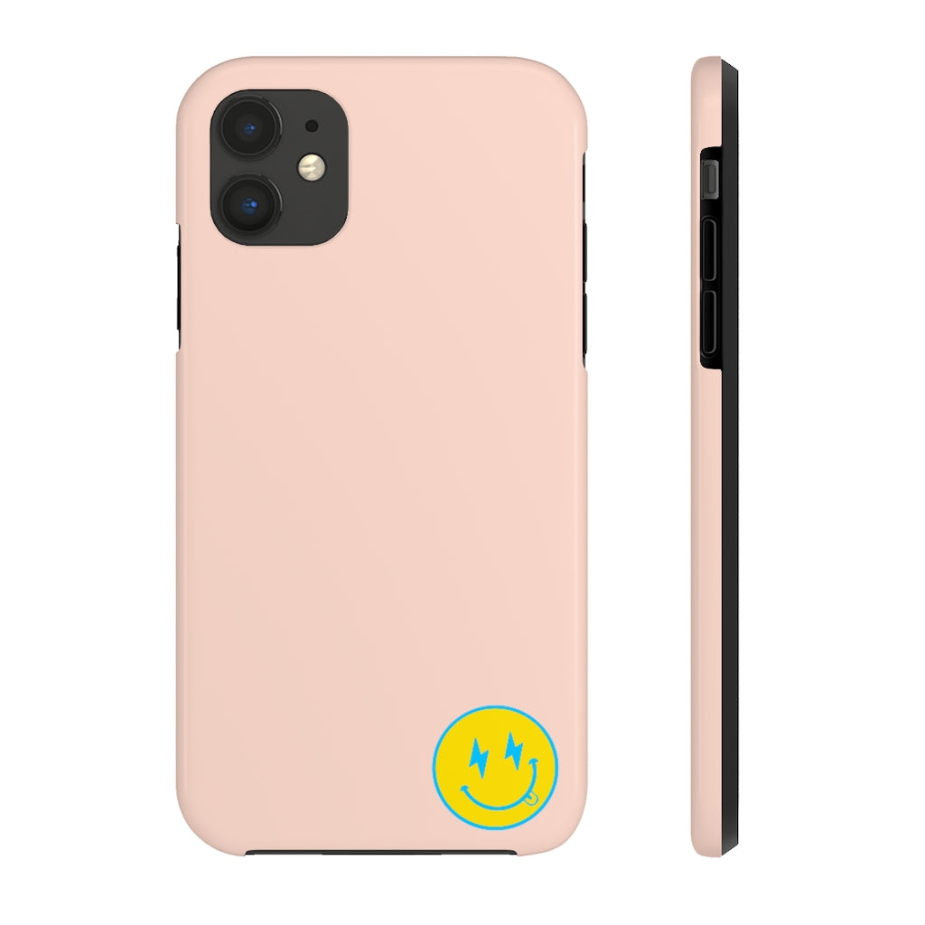 Small Pink Bolt Happy Face iPhone Case