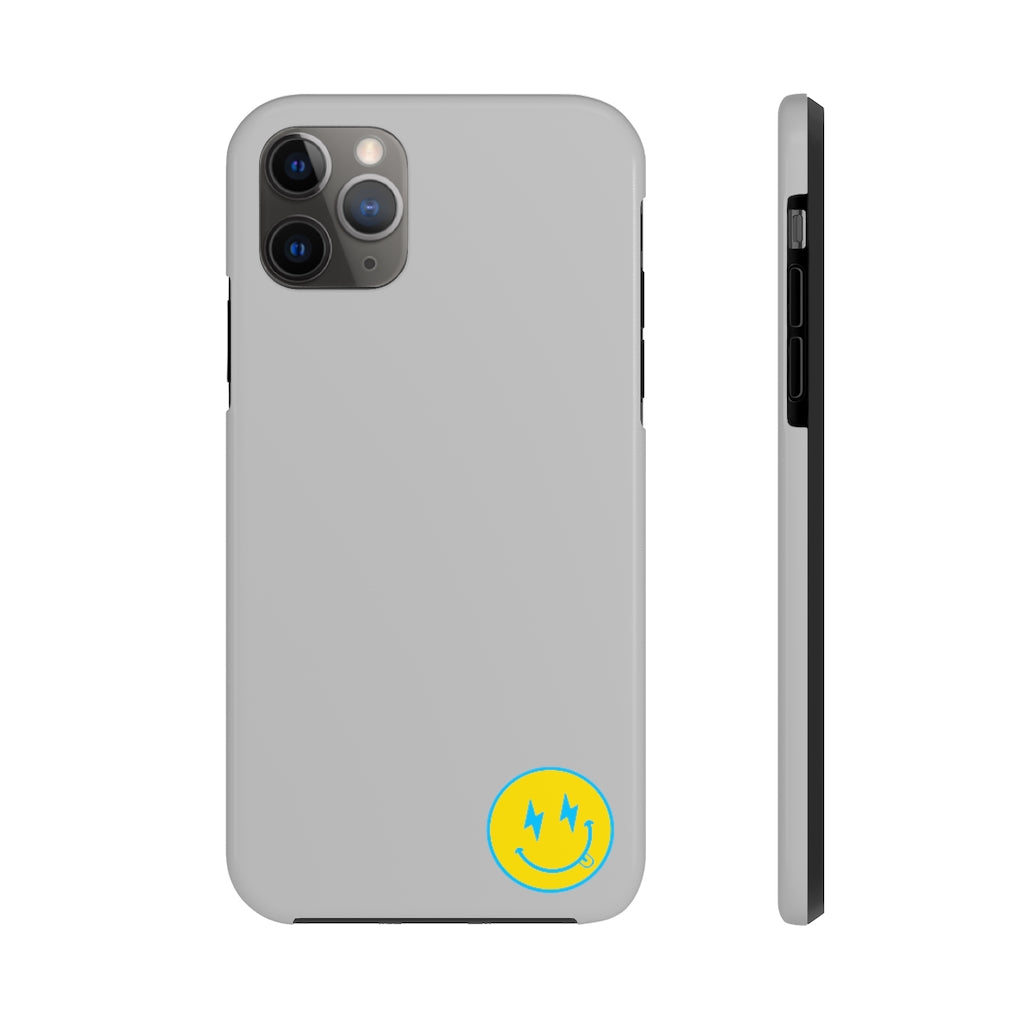 Small Grey Bolt Happy Face iPhone Case