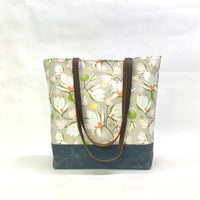 Magnolia Blossom / Waxed Canvas Tote Bag with Leather Straps